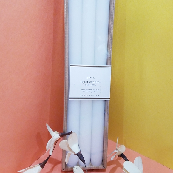 POTTERY BARN 6 TAPER CANDLES BOUGIES SET OF 6